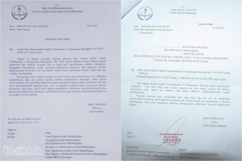 Bakanlığın izin verdiği Siyer Sınavı'na Adıyaman'da engel