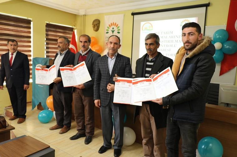 Elazığ`da İyi Tarım Uygulamaları Sertifikası 10 Çiftçiye Verildi.