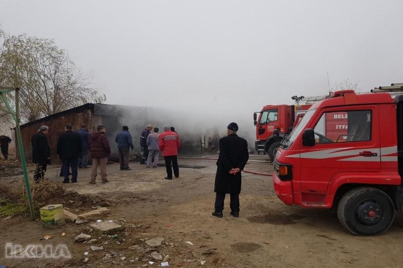 Kovancılar`da Oto bakım dükkânında yangın