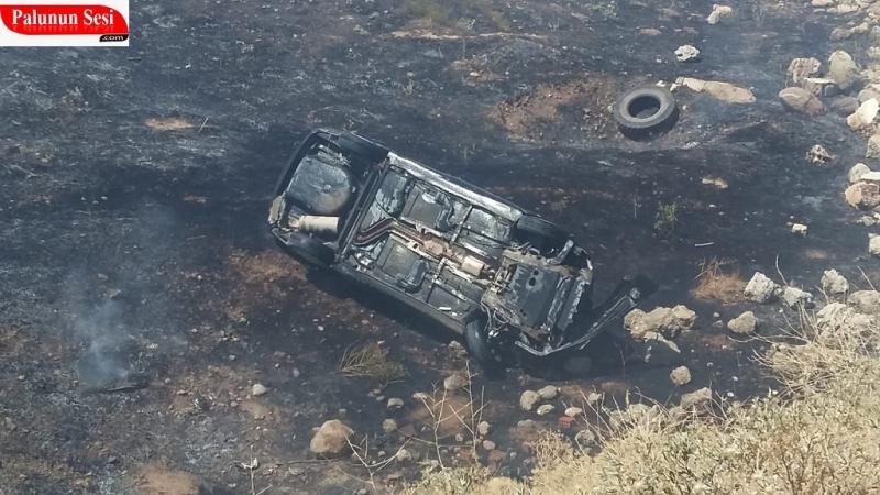 Palu`da Kaza Yapan Araç Alev Aldı: 2 Yaralı